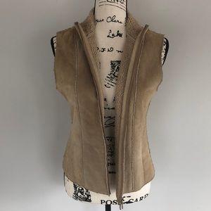 Express World Brand Leather Sherpa Vest